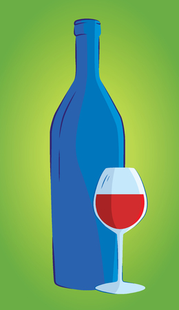 Wine bottle and glass silhouette isolated .