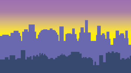 Sunset in the city. Cityscape silhouette sunrise