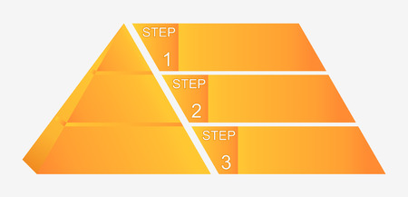 Pyramid chart with four elements with numbers and text, pyramid infographic template, vector eps10 illustration Illustration