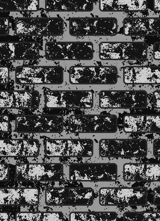 Dark old black brick wall . Eps 10 vector illustration