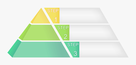 Illustration of a artistic Pyramid chart with four elements with numbers and text, pyramid infographic template, vector eps10 illustration Illustration