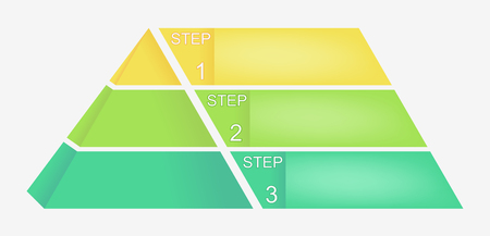 Pyramid chart with four elements with numbers and text, pyramid infographic template,   illustration