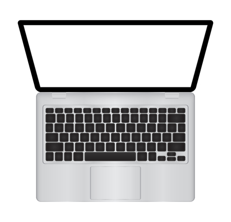 ultra modern: Laptop illustration with blank screen isolated on white background, white aluminium body . The upper view . Stock Photo