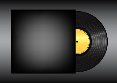 mack: Vinyl record on black background . Eps 10  illustration