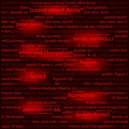 Software engineering technologie achtergrond concept. Rode abstracte achtergrond.