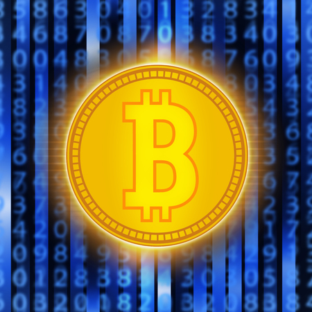 Crypto currency golden coin . Abstract virtual money on blue background .Digital matrix of deducting money .