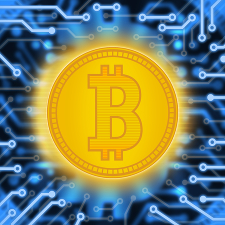Crypto currency abstraction of a gold coin. Abstract virtual money on a blue background with an electrical circuit.