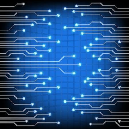 Electroschemes と青の背景。さまざまなデバイスで使用される電気回路の抽象的なイメージ 写真素材