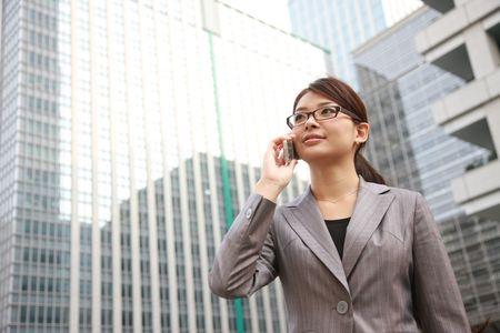 携帯電話会談を実業家 写真素材