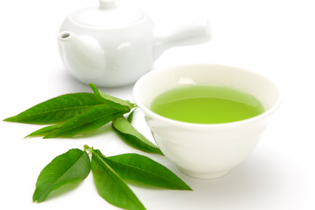 green tea leaf: green tea Stock Photo