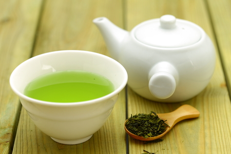 japanese green tea: Jananese Green Tea Stock Photo