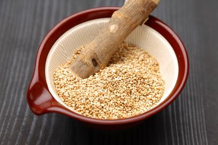 white sesame seed in Japanese mortar