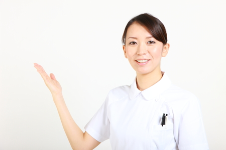 explains: young Japanese nurse explains