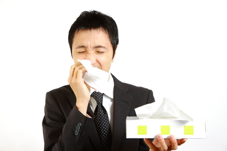 runny: Japanese businessman suffer from a runny nose