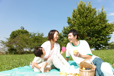 asian trees: Familiy Picnic   Stock Photo