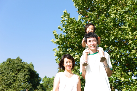 Japanese family in the park photo