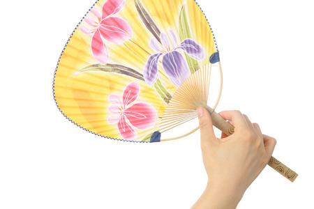 Japanese traditional paper fan UCHIWA  photo