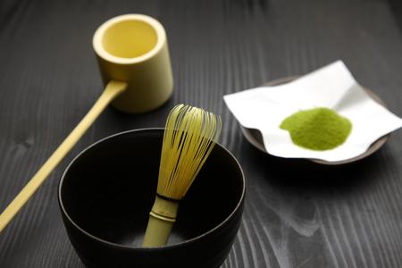 tea set: Japanese traditional tea set with powdered green tea