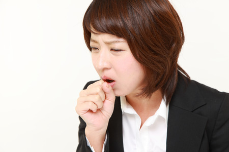 coughing: coughing businesswoman