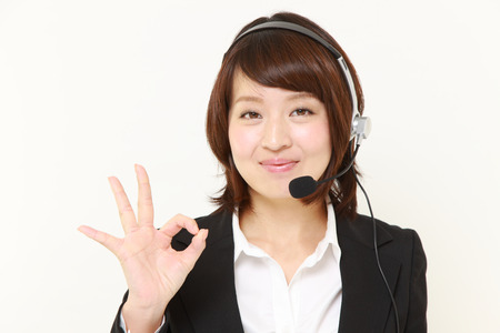 perfect sign: Japanese Business woman showing perfect sign Stock Photo