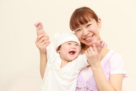 japonais: maman et son bébé Banque d'images