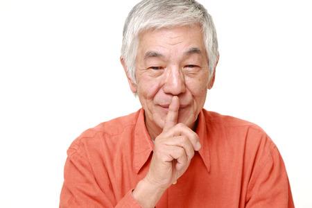 上級日本語男 whith 沈黙ジェスチャー 写真素材