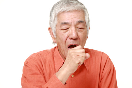 senior man on a neck pain: senior Japanese man coughing