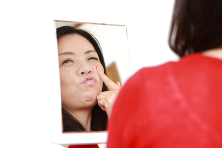 worries: Japanese woman worries about dry rough skin