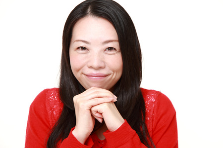 pleased: Japanese woman pleased