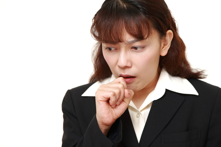 coughing: asian businesswoman coughing Stock Photo