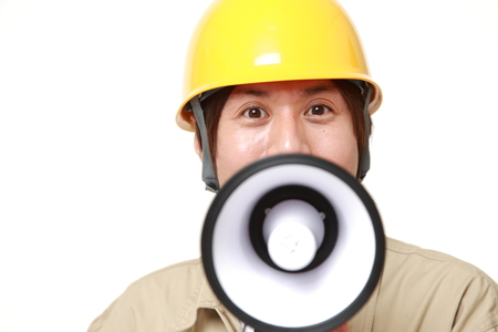 construction worker with megaphone photo