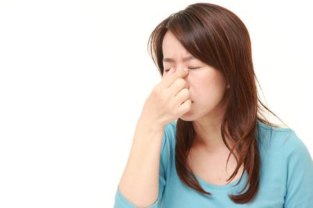 eyestrain: woman suffers from Asthenopia Stock Photo