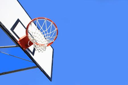 青空とバスケット ボール フープ 写真素材