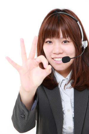 perfect sign: businesswoman showing perfect sign Stock Photo