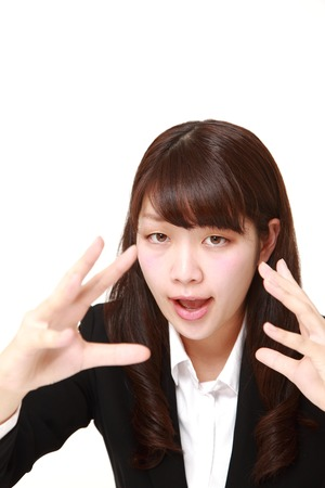 supernatural power: young Japanese businesswoman with supernatural power