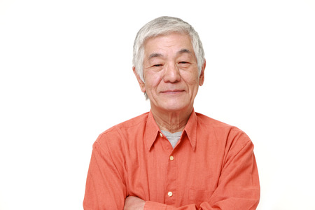one senior: senior Japanese man smiles