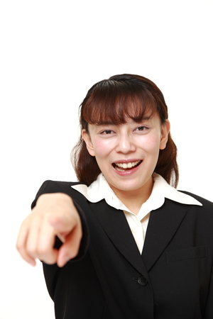 discover: asian businesswoman discover something Stock Photo