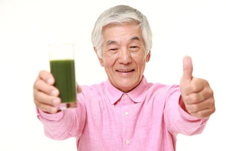 green vegetable: senior Japanese man with green vegetable juice