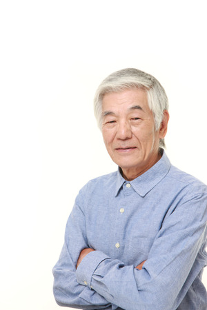 wrest: senior Japanese man smiles