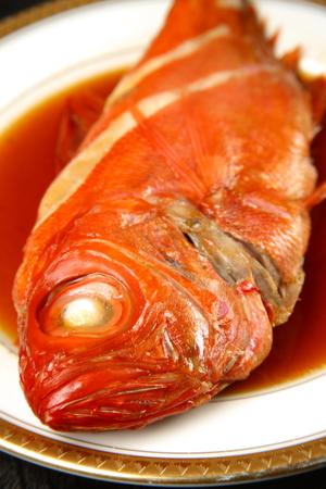 sea bream: sea bream boiled and seasoned