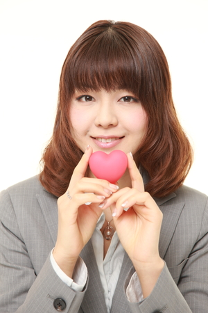 businesswoman suit: Japanese businesswoman with heart