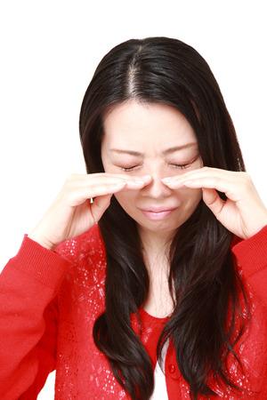 mujer decepcionada: Mujer japonesa triste Foto de archivo