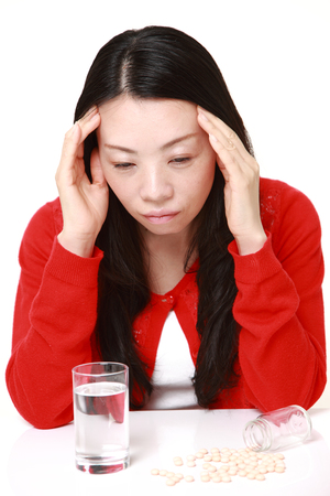 melancholy: Japanese woman suffers from melancholy Stock Photo
