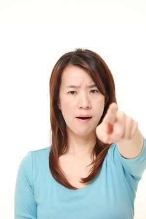 denunciation: Japanese woman scolding Stock Photo