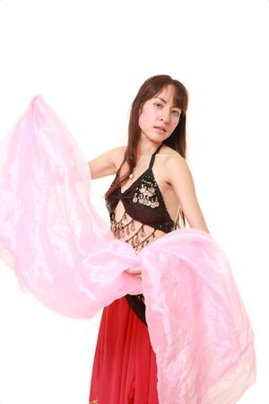 danseuse orientale: belly dancer on white background