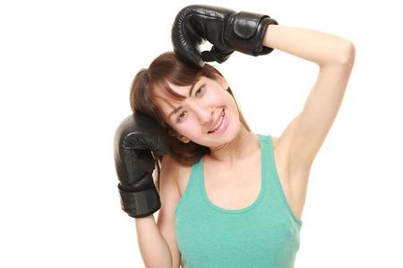 female boxer: female boxer smiles
