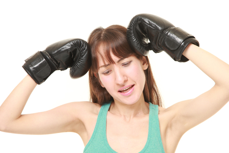 defeated: Defeated female boxer Stock Photo