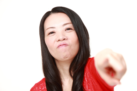 Japanese woman scolding Stock Photo