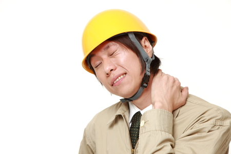 working stiff: Japanese construction worker suffers from neck ache