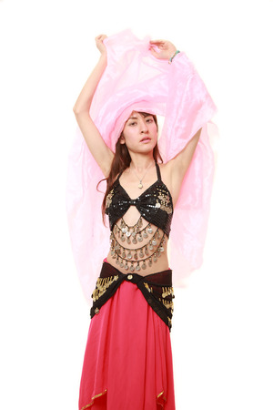 danseuse orientale: belly dancer on white background